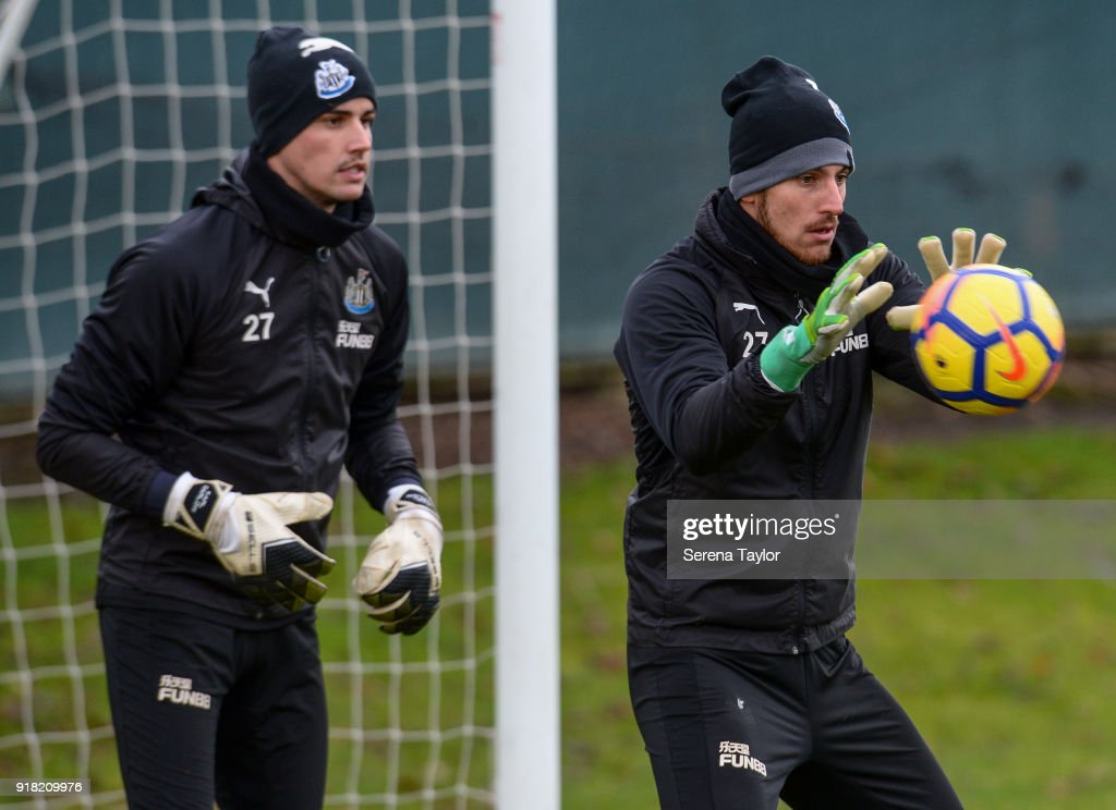 Goalkeeper Martin Dubravka catches the ball during the Newcastle United Training session at The Newcastle United Training Centre on February 14, 2018, in Newcastle upon Tyne, England.