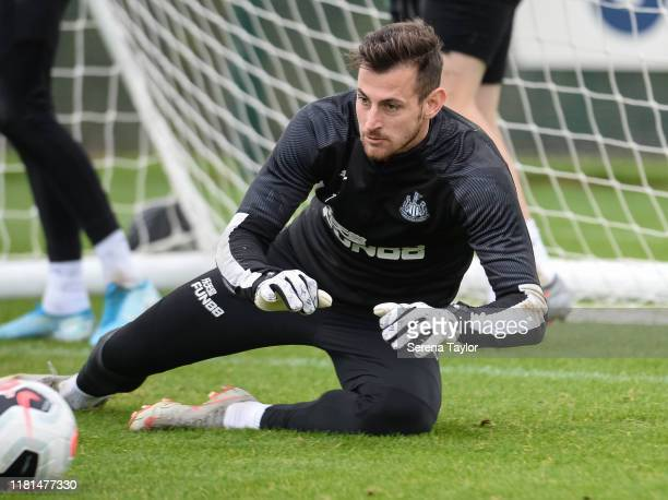 Goalkeeper Martin Dubravka dives to make a save during the Newcastle United Training Session at the Newcastle United Training Centre on October 16...