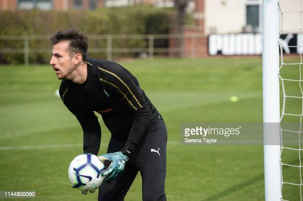 Goalkeeper Martin Dubravka holds the ball during the Newcastle United Training Session at the Newcastle United Training Centre on April 24 2019 in...