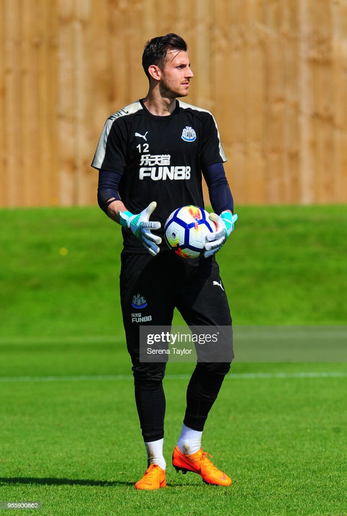 Goalkeeper Martin Dubravka holds the ball during the Newcastle United Training Session at the Newcastle United Training Centre on May 8, 2018, in Newcastle upon Tyne, England.