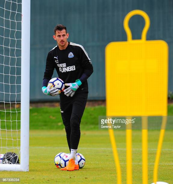 Goalkeeper Martin Dubravka holds the ball during the Newcastle United Training Session at the Newcastle United Training Centre on May 11 in Newcastle...