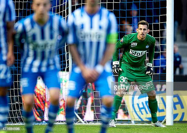 Goalkeeper Martin Dubravka of Esbjerg FB looks on during the Danish DBU Pokalen Cup Semifinal match between Esbjerg fB and FC Copenhagen at Blue...