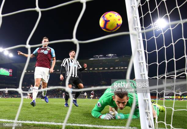 Goalkeeper Martin Dubravka of Newcastle United reacts as Sam Vokes of Burnley scores his team's first goal during the Premier League match between...