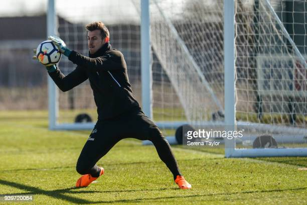 Goalkeeper Martin Dubravka saves the ball during the Newcastle United Training session at the Newcastle United Training Centre on March 29 in...