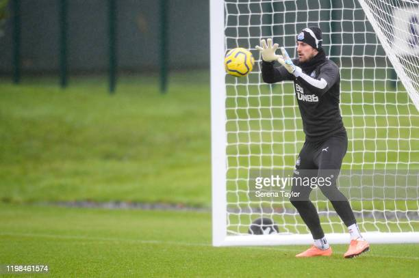 Goalkeeper Martin Dubravka sets to catch the ball during the Newcastle United Training Session at the Newcastle United Training Centre on January 09...