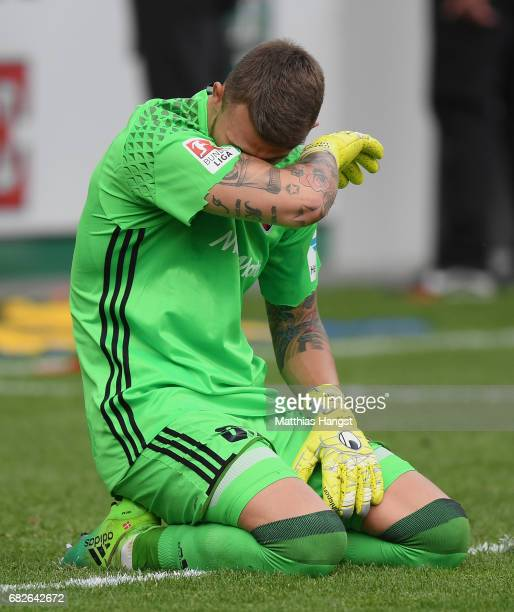 Goalkeeper Martin Hansen of Ingolstadt shows his disappointment after the Bundesliga match between SC Freiburg and FC Ingolstadt 04 at...
