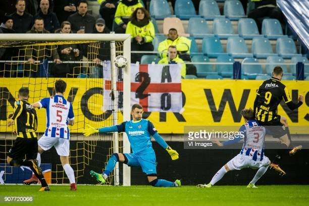 goalkeeper Martin Hansen of sc Heerenveen Tim Matavz of Vitesse 10 during the Dutch Eredivisie match between Vitesse Arnhem and sc Heerenveen at...