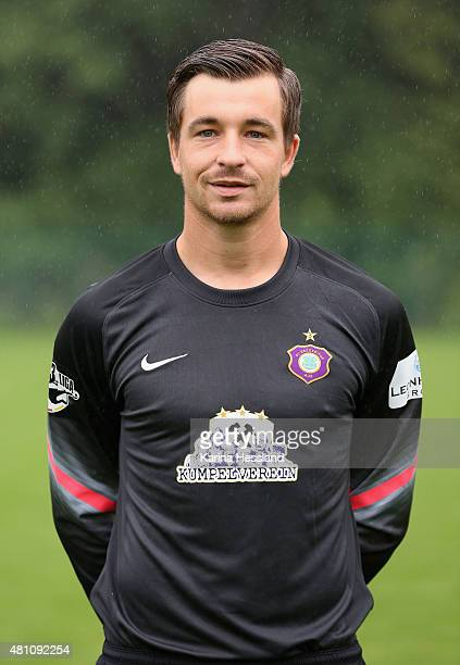 Goalkeeper Martin Maennel poses during the official team presentation of Erzgebirge Aue at ground 2 on July 14 2015 in Aue Germany