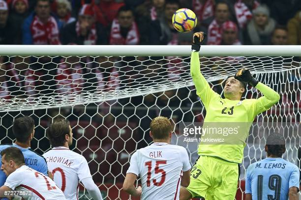 Goalkeeper Martin Silva from Uruguay saves the ball while Poland v Uruguay International Friendly soccer match at National Stadium on November 10...