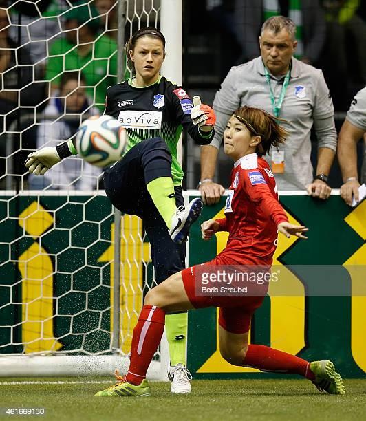 Goalkeeper Martina Tufekovic of TSG 1899 Hoffenheim saves the ball during the DFB Women's Indoor Football Cup 2015 match between TSG 1899 Hoffenheim...