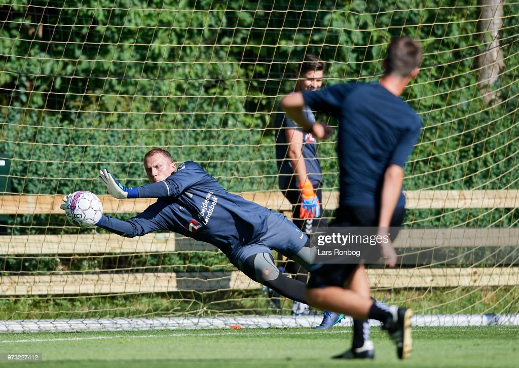 Goalkeeper Marvin Schwabe of Brondby IF in action during the Brondby IF training session at Brondby Stadion on June 13, 2018 in Brondby, Denmark.