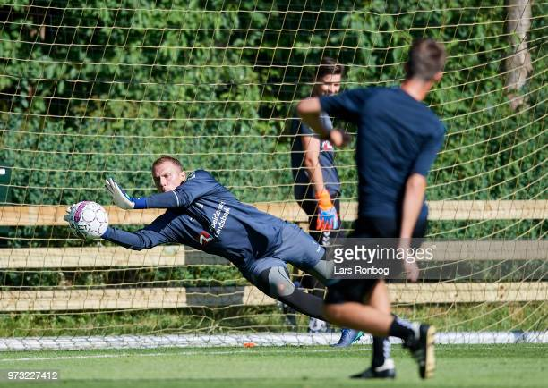 Goalkeeper Marvin Schwabe of Brondby IF in action during the Brondby IF training session at Brondby Stadion on June 13 2018 in Brondby Denmark