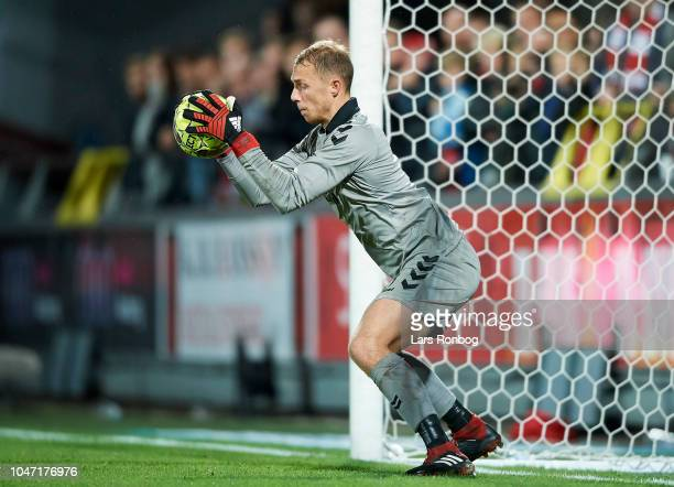 Goalkeeper Marvin Schwabe of Brondby IF in action during the Danish Superliga match between AaB Aalborg and Brondby IF at Aalborg Portland Park on...