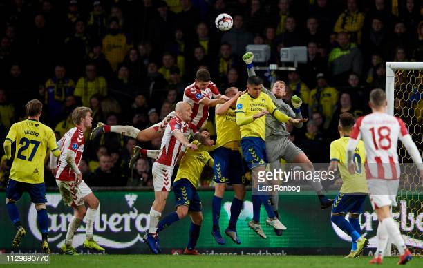 Goalkeeper Marvin Schwabe of Brondby IF in action during the Danish Superliga match between Brondby IF and AaB Aalborg at Brondby Stadion on March 10...