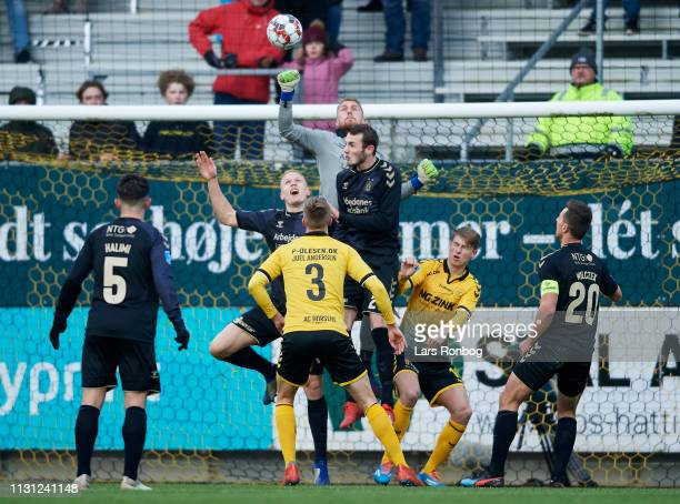 Goalkeeper Marvin Schwabe of Brondby IF in action during the Danish Superliga match between AC Horsens and Brondby IF at CASA Arena on March 17 2019...