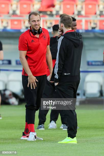 Goalkeeper Marvin Schwaebe of Germany speak with Maximilian Arnold of Germany during the UEFA U21 Final match between Germany and Spain at Krakow...
