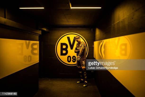 Goalkeeper Marwin Hitz is focused in the players tunnel prior to the Bundesliga match between Borussia Dortmund and Fortuna Düsseldorf at Signal...