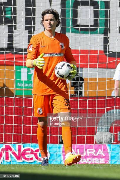 Goalkeeper Marwin Hitz of Augsburg gestures during the Bundesliga match between FC Augsburg and Hamburger SV at WWK Arena on April 30 2017 in...
