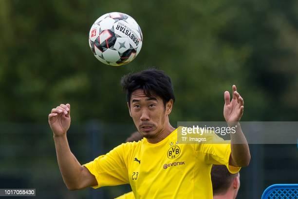 Goalkeeper Marwin Hitz of Borussia Dortmund controls the ball during the Borussia Dortmund training session on August 15 2018 in Dortmund Germany