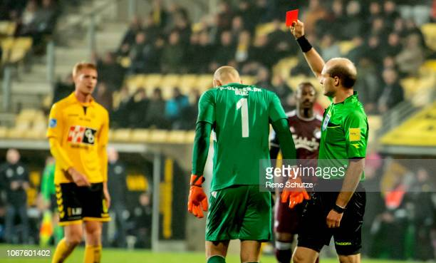 Goalkeeper Matej Delac of AC Horsens and Robert Skov of FC Copenhagen in fight and Goalkeeper Matej Delac of AC Horsens is being sent off the Danish...