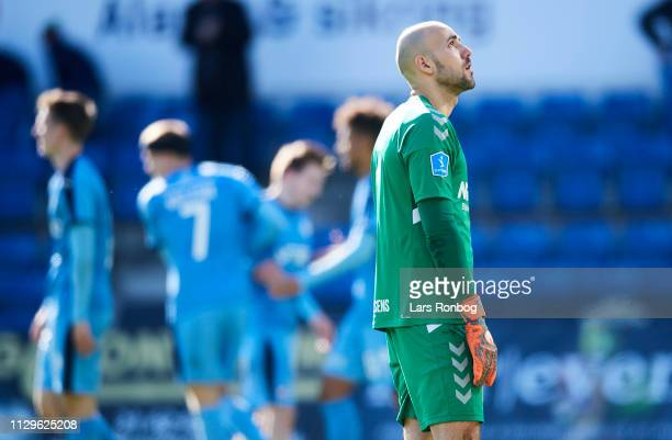 RANDERS DENMARK MARCH Goalkeeper Matej Delac of AC Horsens looks dejected during the Danish Superliga match between Randers FC and AC Horsens at...