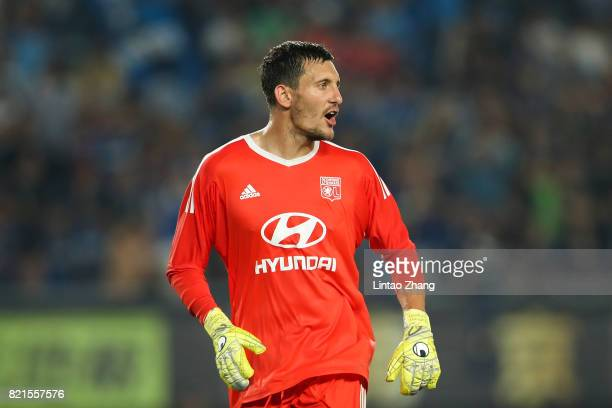 Goalkeeper Mathieu Gorgelin of Olympique Lyonnais reacts during the 2017 International Champions Cup China match between Olympique Lyonnais and FC...