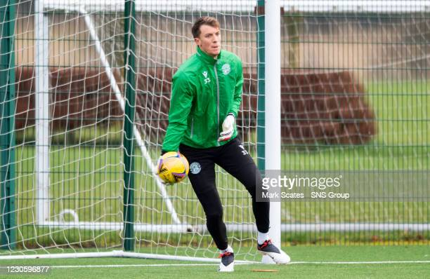 Goalkeeper Matt Macey during a Hibernian training session at the Hibernian Training Centre on January 15 in Edinburgh, Scotland.