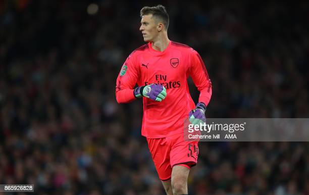Goalkeeper Matt Macey of Arsenal during the Carabao Cup Fourth Round match between Arsenal and Norwich City at Emirates Stadium on October 24 2017 in...