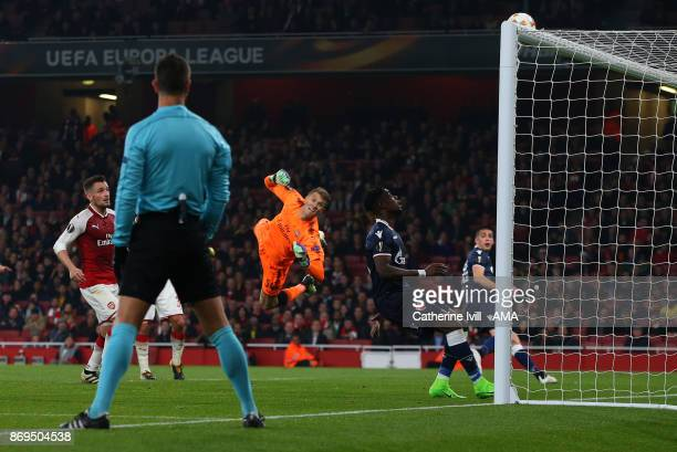 Goalkeeper Matt Macey of Arsenal watches as the ball hits the crossbar during the UEFA Europa League group H match between Arsenal FC and Crvena...