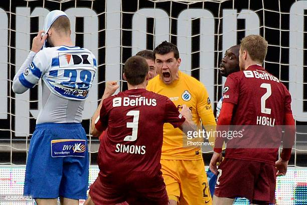 Goalkeeper Matthew Ryan of Club Brugge is celebrating stopping a penalty from Nicklas Pedersen of KAA Gent with teammates during the Jupiler League...