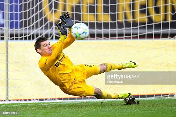 Goalkeeper Matthew Ryan of Club Brugge saves a penalty of Nicklas Pedersen of KAA Gent during the Jupiler League match between KAA Gent and Club...
