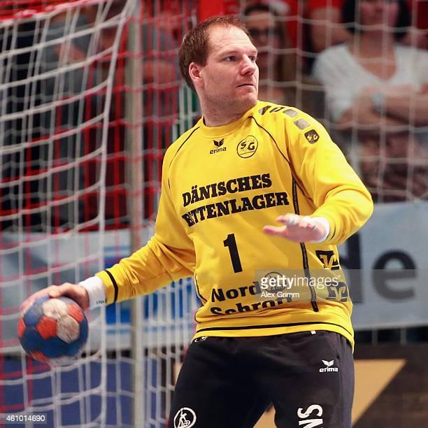 Goalkeeper Mattias Andersson of FlensburgHandewitt holds the ball during the DKB Handball Bundesliga match between MT Melsungen and SG...
