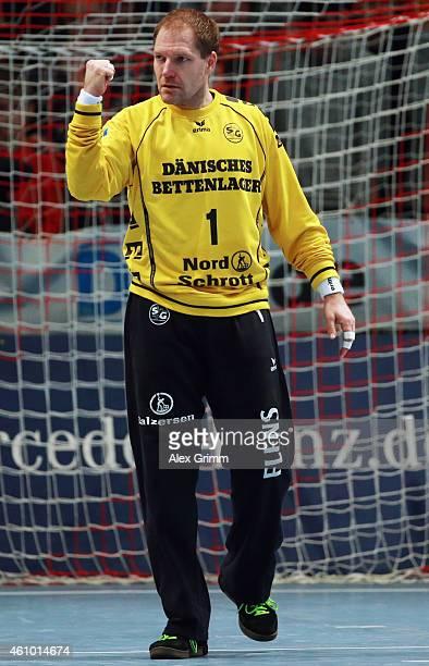 Goalkeeper Mattias Andersson of FlensburgHandewitt reacts during the DKB Handball Bundesliga match between MT Melsungen and SG FlensburgHandewitt at...