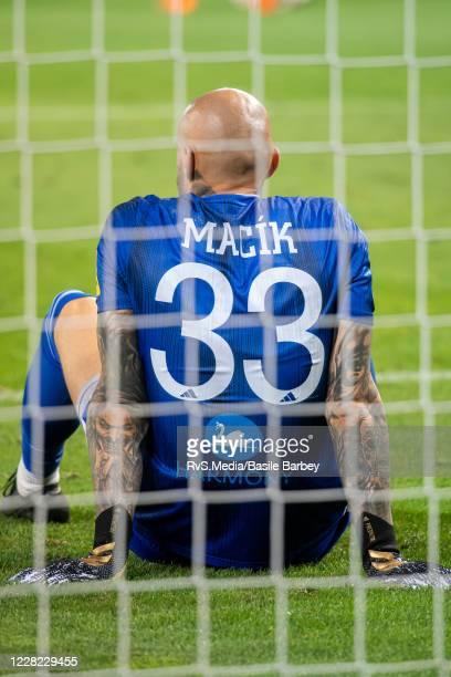 Goalkeeper Matus Macik of MFK Ruzomberok looks dejected during the UEFA Europa League qualification match between Servette FC and MFK Ruzomberok at...