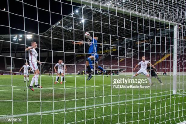 Goalkeeper Matus Macik of MFK Ruzomberok makes a save during the UEFA Europa League qualification match between Servette FC and MFK Ruzomberok at...