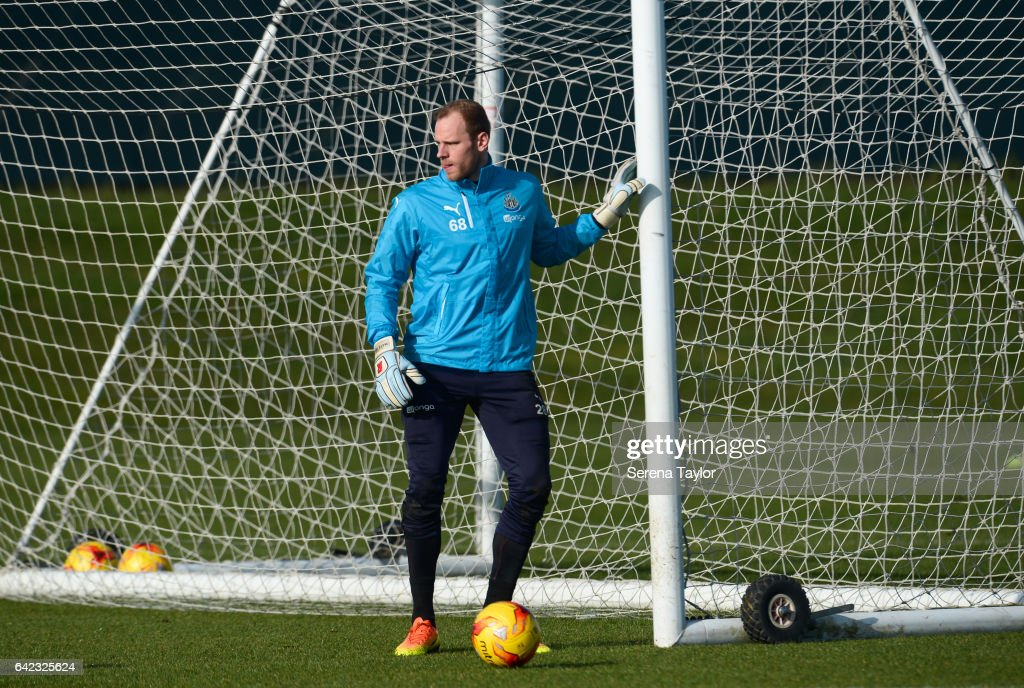 Goalkeeper Matz Sels holds on to the goal posts during the Newcastle United Training Session at The Newcastle United Training Centre on February 17, 2017 in Newcastle upon Tyne, England.