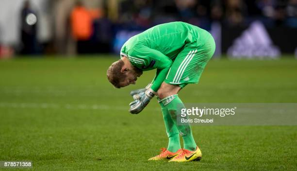 Goalkeeper Matz Sels of Anderlecht reacts during the UEFA Champions League group B match between RSC Anderlecht and Bayern Muenchen at Constant...