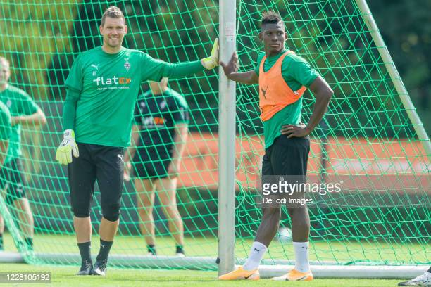 Goalkeeper Max Gruen of Borussia Moenchengladbach and Breel Embolo of Borussia Moenchengladbach looks on during day 3 of the pre-season summer...