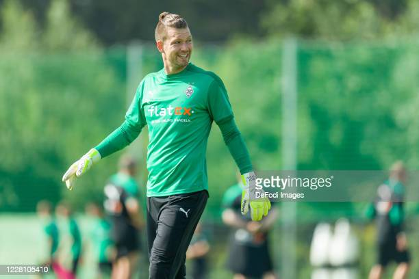 Goalkeeper Max Gruen of Borussia Moenchengladbach smiles during day 3 of the pre-season summer training camp of Borussia Moenchengladbach on August...
