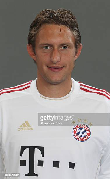 Goalkeeper Maximilian Riedmueller of Bayern Muenchen poses during the FC Bayern Muenchen team presentation for the upcoming season 2011/2012 at...