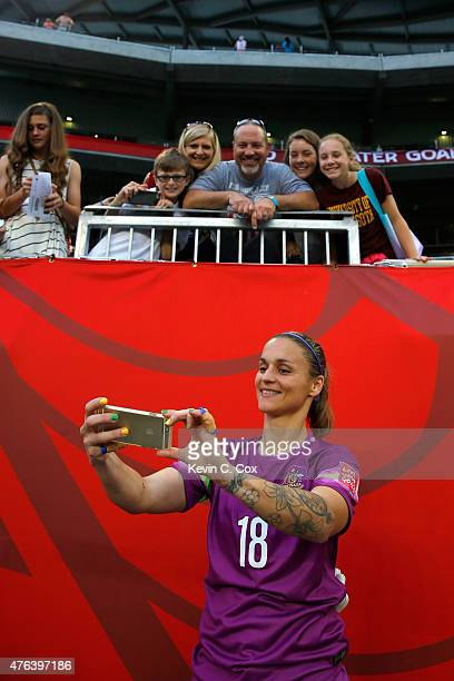 Goalkeeper Melissa Barbieri of Australia takes a picture in the FIFA Women's World Cup 2015 Group D match at Winnipeg Stadium on June 8 2015 in...