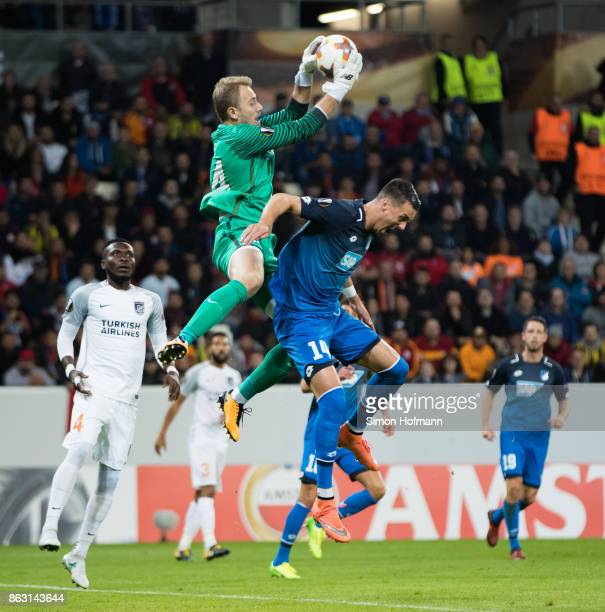 Goalkeeper Mert Guenok of Istanbul makes a save against Sandro Wagner of Hoffenheim during the UEFA Europa League group C match between 1899...