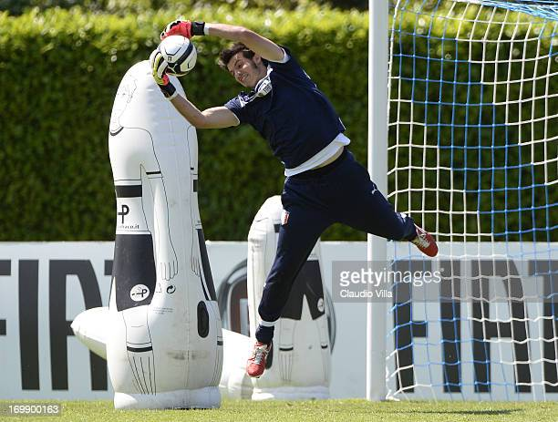Goalkeeper Michael Agazzi of Italy takes part in an Italy training session at Coverciano on June 04 2013 in Florence Italy