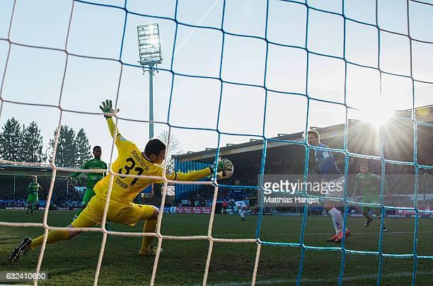 Goalkeeper Michael Esser of Darmstadt saves a ball during the Bundesliga match between SV Darmstadt 98 and Borussia Moenchengladbach at Stadion am...