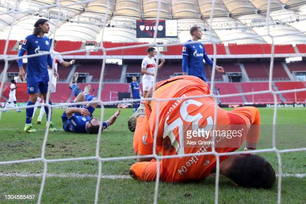 Goalkeeper Michael Langer of Schalke reacts after Wataru Endo of Stuttgart scored his team's first goal during the Bundesliga match between VfB...