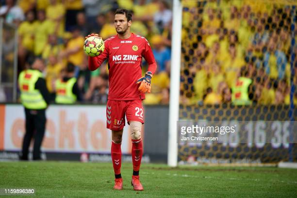 Goalkeeper Michael Lansing of AC Horsens in action during the Danish 3F Superliga match between Brondby IF and AC Horsens at Brondby Stadion on...