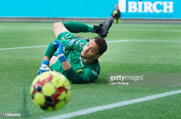 Goalkeeper Michael Lansing of AC Horsens saves the ball during the Danish 3F Superliga match between Silkeborg IF and AC Horsens at Jysk Park on July...