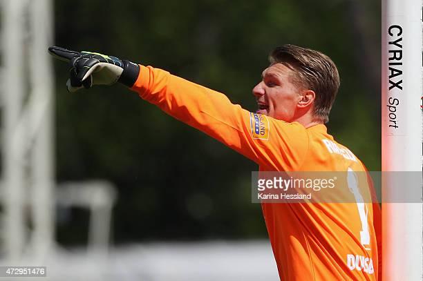Goalkeeper Michael Ratajczak of Duisburg during the Third League match between FC Rot Weiss Erfurt and MSV Duisburg at Steigerwaldstadion on May 10...