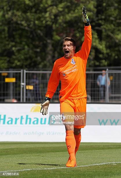 Goalkeeper Michael Ratajczak of Duisburg reacts during the Third League match between FC Rot Weiss Erfurt and MSV Duisburg at Steigerwaldstadion on...