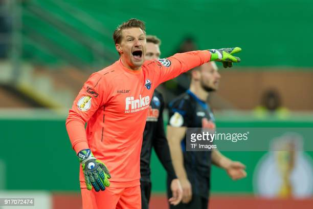 Goalkeeper Michael Ratajczak of Paderborn gestures during the DFB Cup match between SC Paderborn and Bayern Muenchen at Benteler Arena on February 6...